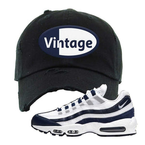 Air Max 95 Essential White / Midnight Navy Distressed Dad Hat | Black, Vintage Oval