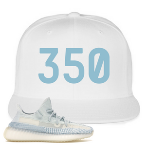 Yeezy Boost 350 V2 Cloud White Non-Reflective 350 Sneaker Matching White Snapback Hat