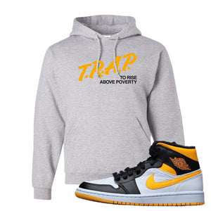Air Jordan 1 Mid Varsity Yellow Black Hoodie | Ash, Trap To Rise Above Poverty