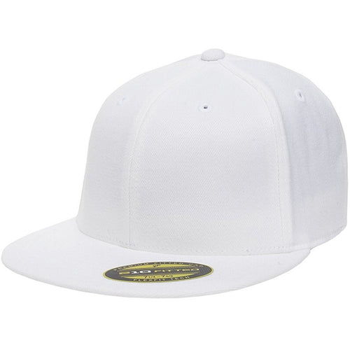 the white flexfit flat brim stretch fit elastic fit fitted hat has a structured crown, flat brim, and is white