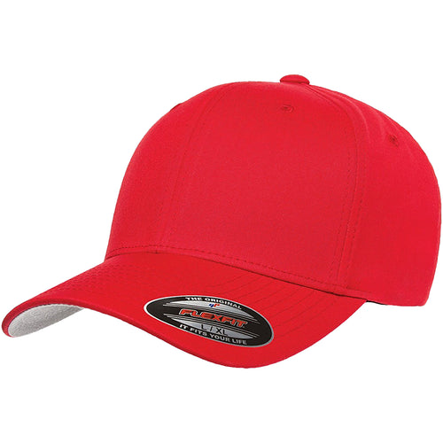 the red flexfit bent brim stretch fit elastic fit ball cap has a structured crown, bent brim, and is red