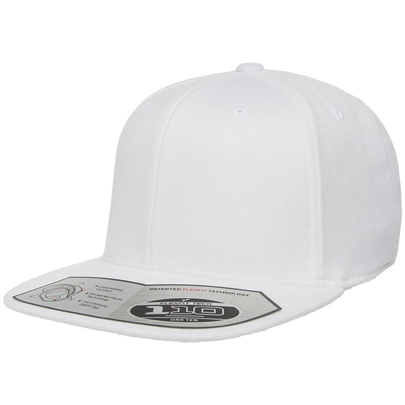 The 110 flexfit snapback is solid white with a high structured crown, flat brim, elastic band, and adjustable snap on the back.