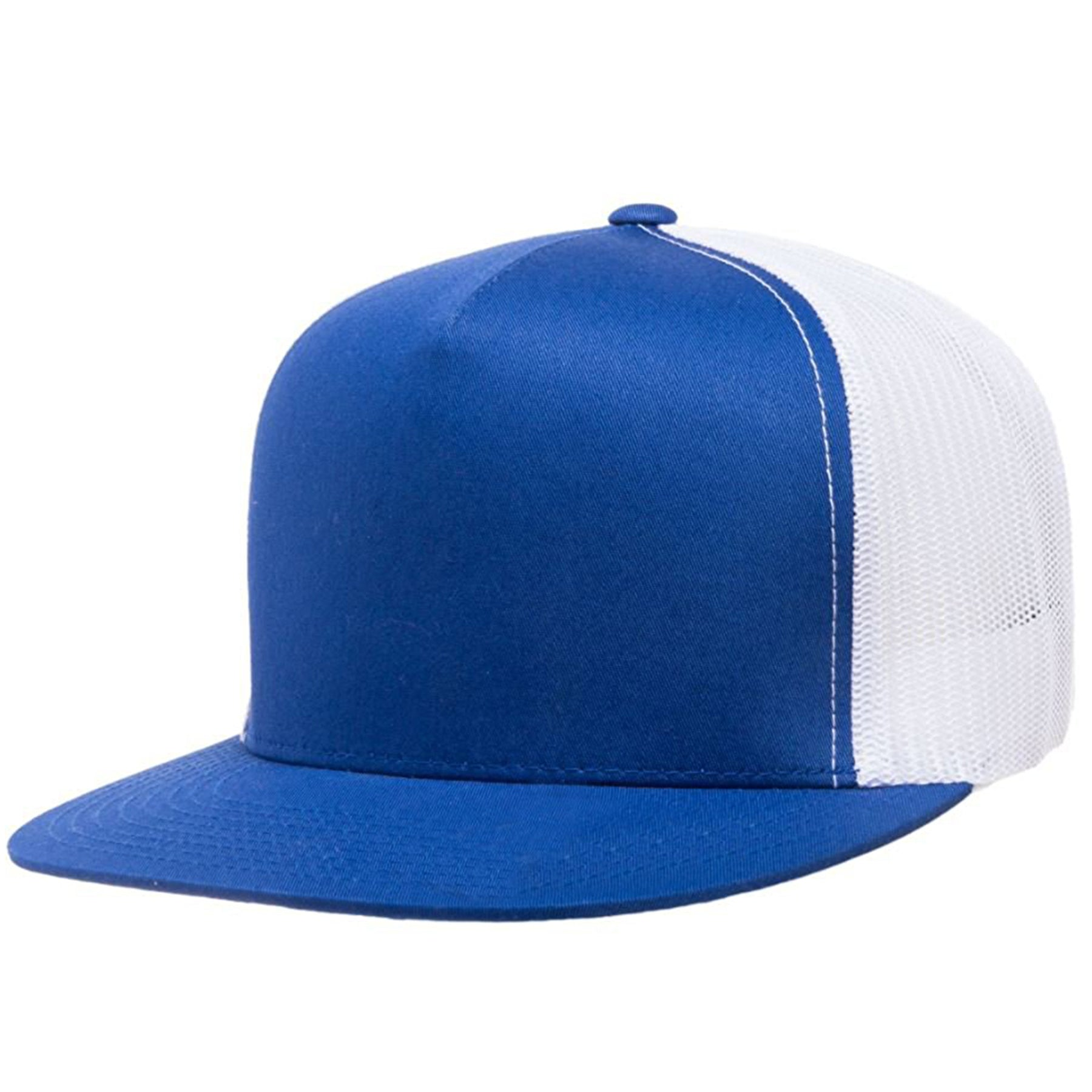 premium selection ee747 789c4 the blank royal blue on white trucker hat has a blue crown and white mesh