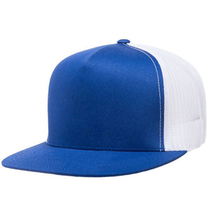 the blank royal blue on white trucker hat has a blue crown and white mesh