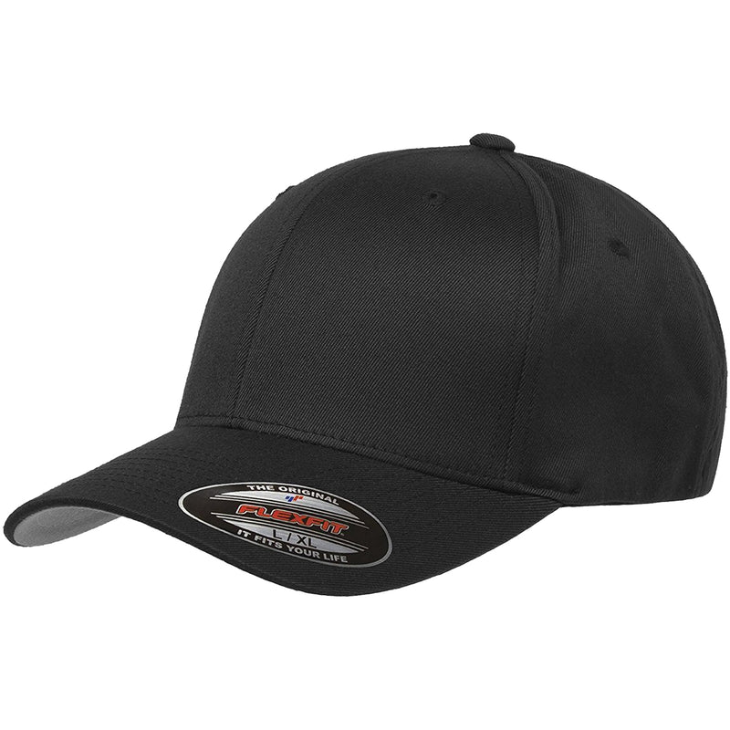 the black flexfit bent brim stretch fit elastic fit ball cap has a structured crown, bent brim, and is black