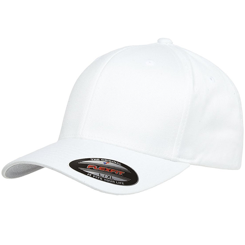 the white flexfit bent brim stretch fit elastic fit ball cap has a structured crown, bent brim, and is white