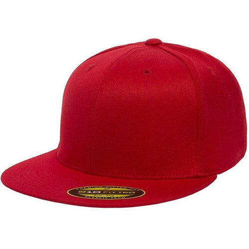 the red flexfit flat brim stretch fit elastic fit fitted hat has a structured crown, flat brim, and is red