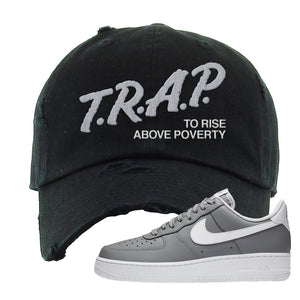 Air Force 1 Low Wolf Grey White Distressed Dad Hat | Black, Trap To Rise Above Poverty