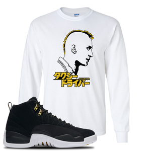 Taxi Mohawk White Long Sleeve T-Shirt To Match Jordan 12 Reverse Taxi Sneakers
