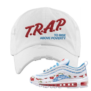 Air Max 97 GS SE Cherry Distressed Dad Hat | Trap To Rise Above Poverty, White