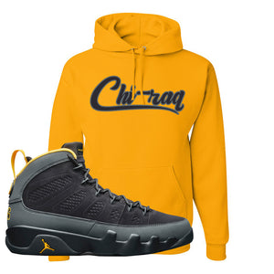 Air Jordan 9 Charcoal University Gold Hoodie | Chiraq, Gold