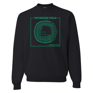 The Vet Seating Chart Crewneck Sweatshirt | Veterans Stadium Seating Chart Black Crew Neck Sweatshirt the front of this crewneck has the vet seating chart