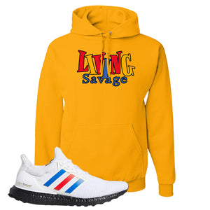 Ultra Boost White Red Blue Hoodie | Gold, Living Savage
