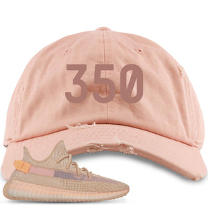 "Yeezy Boost 350 Clay V2 Sneaker Hook Up ""350"" Peach Distressed Dad Hat"