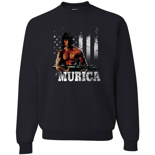 Standard Issue Distressed Rambo with American Flag Black Grunt Life Crewneck Sweater