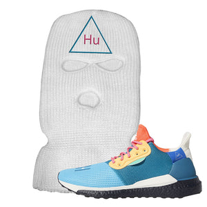 Foot Clan Pharrel Williams X SolarHU Multicolor HU Triangle White Ski Mask  Wear your sneakers in style with this Pharrel Williams X SolarHU Multicolor Sneaker White Ski Mask. The HU Triangle logo on the front of this Pharrel Williams X SolarHU Multicolor Sneaker White Ski Mask is a must-have design for your sneaker matching outfit. Match your kicks today!