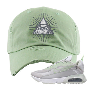 Air Max 2090 'Vast Gray' Distressed Dad Hat | Sage Green, All Seeing Eye