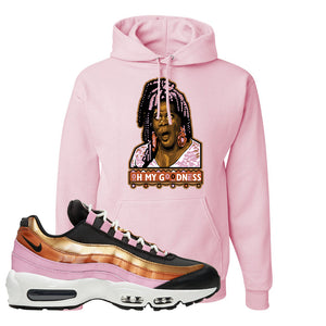 Air Max 95 WMNS Copper and Gold Pullover Hoodie | Oh My Goodness, Classic Pink