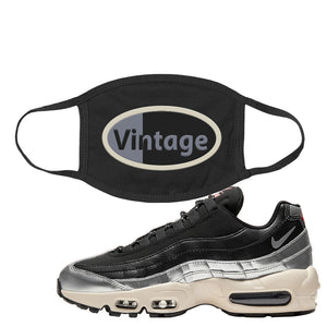 3M x Nike Air Max 95 Silver and Black Face Mask | Vintage Oval, Black