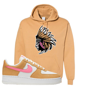 Nike Air Force 1 Pink Orange Hoodie | Indian Chief, Old Gold