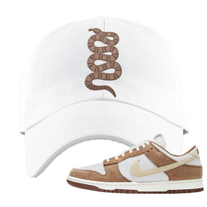 Dunk Low Medium Curry Dad Hat | Coiled Snake, White