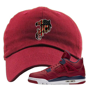 Air Jordan 4 FIBA Stars and Stripes Eagle Maroon Sneaker Matching Dad Hat