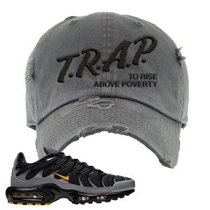 Nike Air Max Plus Batman Distressed Dad Hat | Trap To Rise Above Poverty, Dark Gray