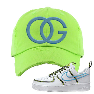 Air Force 1 '07 PRM 'Worldwide Pack' Distressed Dad Hat | Neon Green, OG