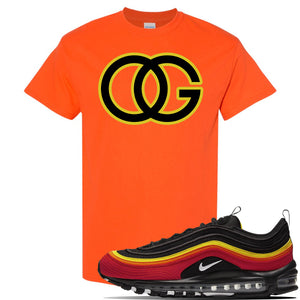 Air Max 97 Black/Chile Red/Magma Orange/White Sneaker Orange T Shirt | Tees to match Nike Air Max 97 Black/Chile Red/Magma Orange/White Shoes | OG