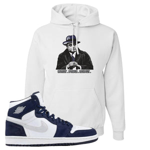 Air Jordan 1 Co.jp Midnight Navy Hoodie | White, Capone Illustration