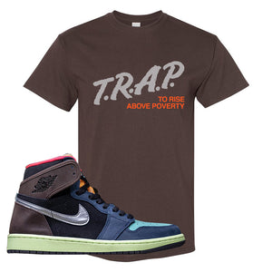 Air Jordan 1 Retro High OG 'Bio Hack' T Shirt | Dark Chocolate, Trap To Rise Above Poverty