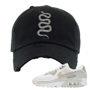 Air Max 90 Zebra Snakeskin Distressed Dad Hat | Coiled Snake, Black
