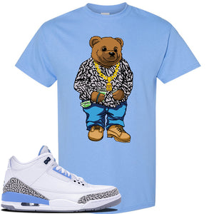 Jordan 3 UNC Sneaker Carolina Blue T Shirt | Tees to match Nike Air Jordan 3 UNC Shoes | Sweater Bear