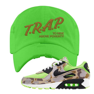 Air Max 90 Duck Camo Ghost Green Distressed Dad Hat | Neon Green, Trap To Rise Above Poverty