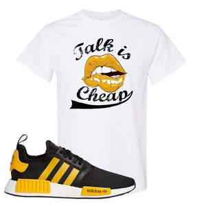 NMD R1 Active Gold T Shirt | White, Talk is Cheap
