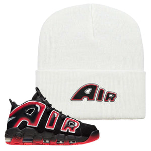Air More Uptempo Laser Crimson Beanie | White, Air From The Sneaker