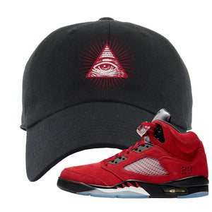 Air Jordan 5 Raging Bull Dad Hat | All Seeing Eye, Black