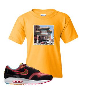Air Max 1 NYC Chinatown Chinese Gate Of Friendship Gold Kid's T-Shirt To Match Sneakers