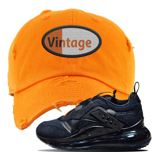 Air Max 720 OBJ Slip Sneaker Safety Orange Distressed Dad Hat | Hat to match Nike Air Max 720 OBJ Slip Shoes | Vintage Oval