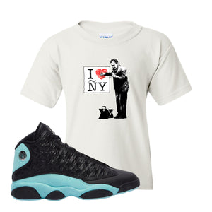 I Heart ÑY Doctor White Kid's T-Shirt To Match Jordan 13 Island Green Sneakers
