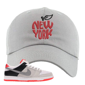 Nike SB Dunk Low Infrared Orange Label New York Apple Light Gray Dad Hat To Match Sneakers