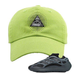 Yeezy Boost 700 V3 Alvah Sneaker Neon Green Dad Hat | Hat match Adidas Yeezy Boost 700 V3 Alvah Shoes | All Seeing Eye
