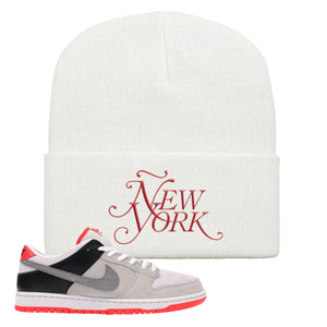 Nike SB Dunk Low Infrared Orange Label Ñew York White Beanie To Match Sneakers
