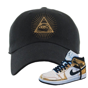 Air Jordan 1 Mid SE Metallic Gold Dad Hat | All Seeing Eye, Black