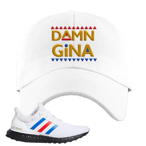 Ultra Boost White Red Blue Dad Hat | White, Damn Gina