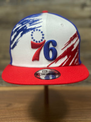 Vintage Basketball Snapback | 76ers Retro Snapback |  Philadelphia 76ers Throwback On Court 2020  | OSFM | Paintbrush front view of hat