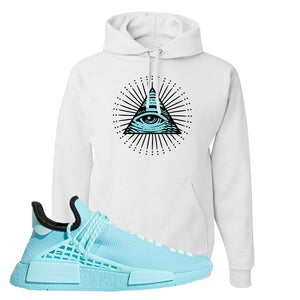 Pharell x NMD Hu Aqua Hoodie | All Seeing Eye, White