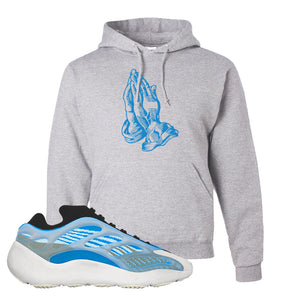 Yeezy 700 v3 Azareth Hoodie | Ash, Praying Hands