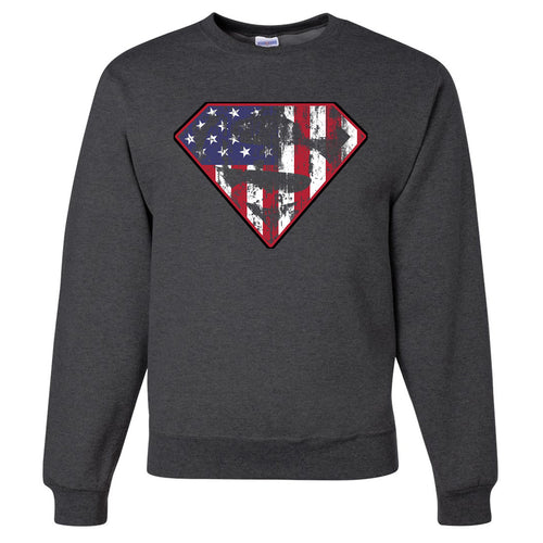 Standard Issue Diamond S Logo American Flag Distressed Gray Grunt Life Crewneck Sweater