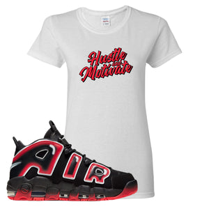 Air More Uptempo Laser Crimson Hustle & Motivate White Sneaker Hook Up Women's T-Shirt